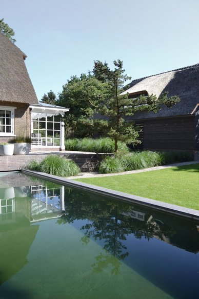 using concreet at the surface of the swimming pool does not make it stand out. Instead it is a beautiful element that combines perfectly with the garden design